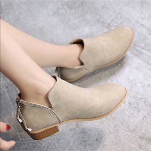 Beige ankle boots with back zipper